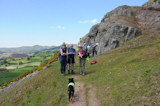 The group, including dog, on the old quarry tramway